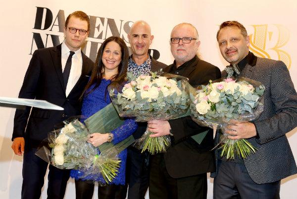 H.K.H Prins Daniel och Micael Bindefeld tillsammans med stipendiaterna Sara Sommerfeld, Johan Romin och Örjan Henriksson.