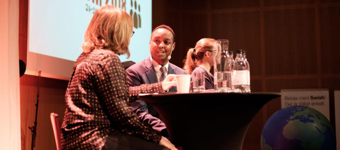 Helene Benno och Ahmed Abdirahman, Insamlingsforum 2018. Foto: Johanna Lingaas Türk