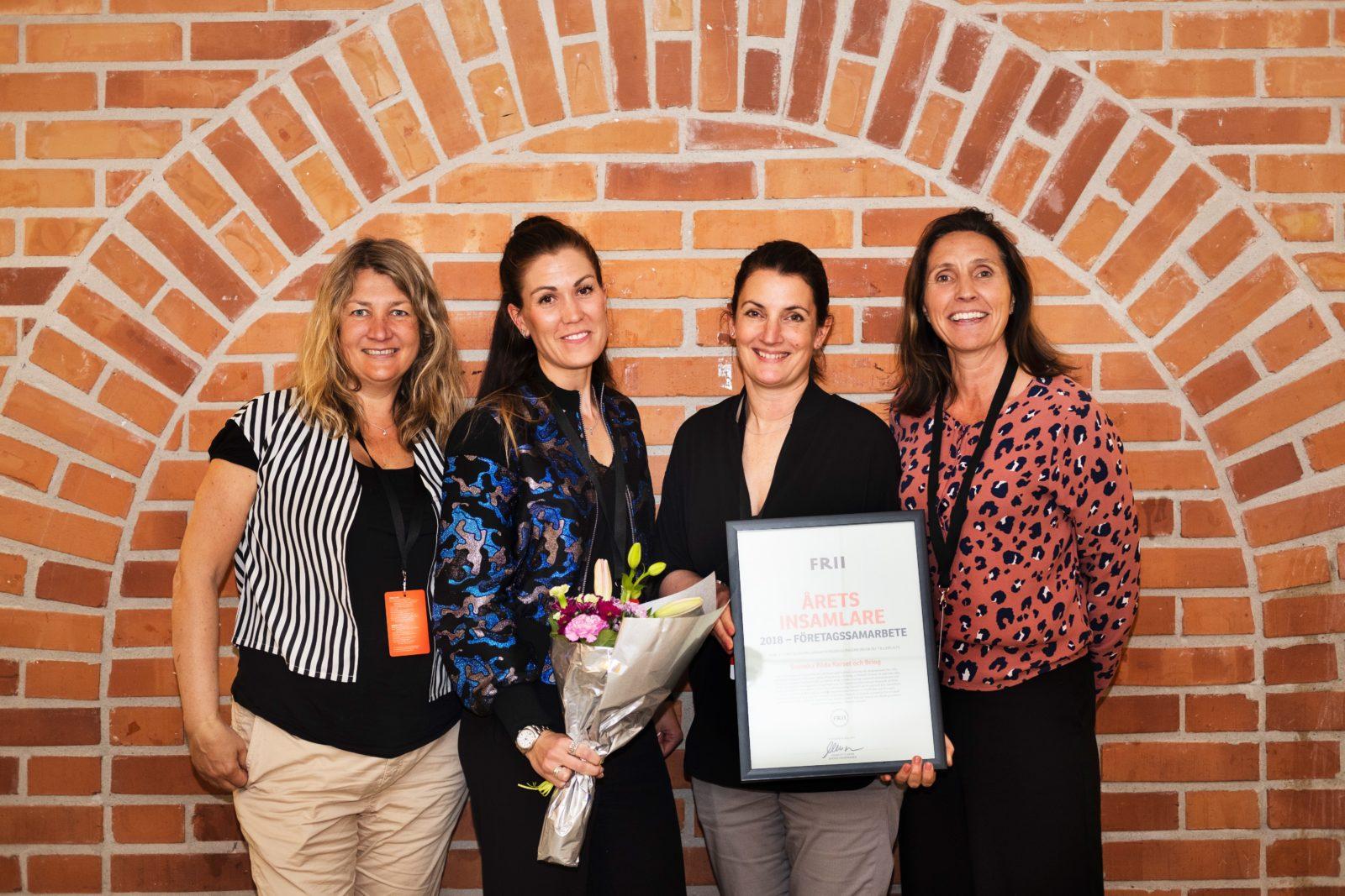 Vinnare Årets insamlare 2018 i kategorin företagssamarbete.
